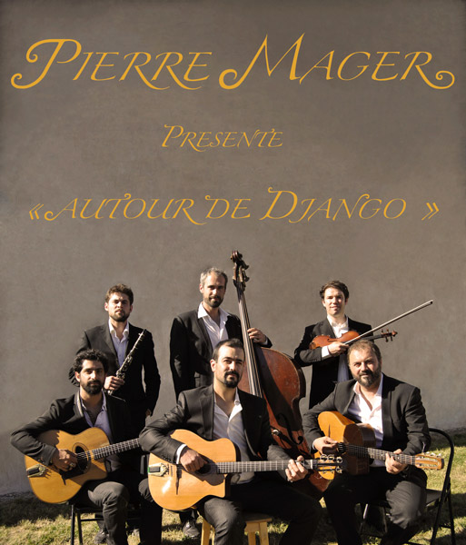 "poster of the gypsy jazz band ""around django"", musical performances, concerts, festival, wedding, cocktail, seminars, events."