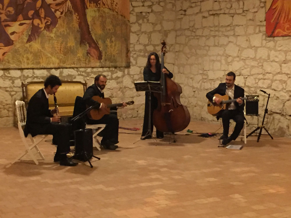 Pierre Mager's gypsy jazz band quartet clarinet at Château du Riveau 2016.