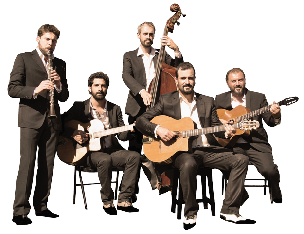 "the gypsy jazz band ""autour de django"" in quintet or quartet in the clarinet version."