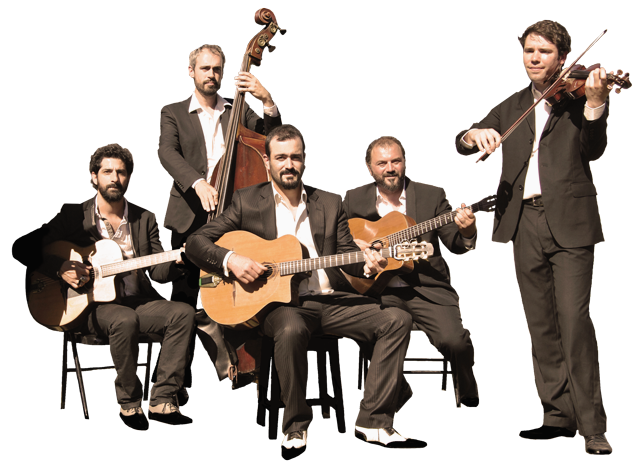 "the gypsy jazz band ""autour de django"" in quintet or quartet in the violin version."