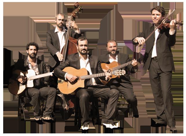 """ensemble des musiciens du projet """"autour de django"""" en version violon, quintet ou quartet de jazz manouche orchestre dirigé par pierre mager"""