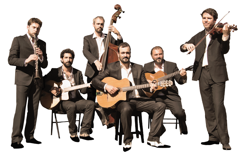 "all the musicians of the gypsy jazz band ""autour de django"", musical sextet lead by pierre mager."