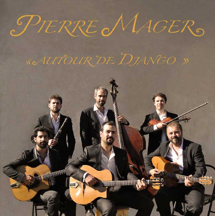 Pierre Mager from the gypsy jazz band Autour de django présent the face of his cd published in 2016.