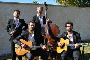 Groupe de jazz manouche en quartet clarinette de pierre Mager animations.