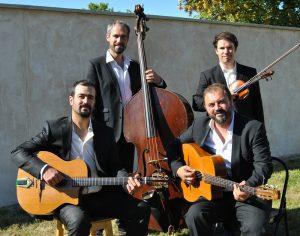Groupe de jazz manouche en quartet violon de pierre Mager animations.