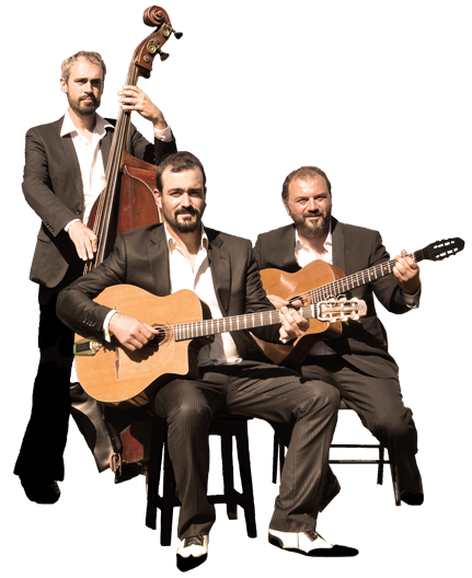 Band of gypsy jazz for wedding, cocktail, musical animation, diners. Pierre Mager trio, with Mathieu Chatelain and Carl Cordelier.